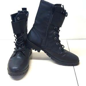 Sugar Black Vinyl Zip Up Ankle Boots